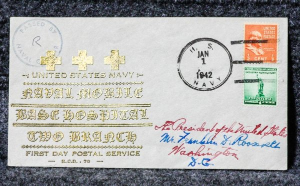 Image for MOBILE BASE HOSPITAL NAVAL CACHET ADDRESSED TO FRANKLIN D. ROOSEVELT FROM HIS STAMP COLLECTION.