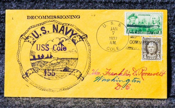 Image for USS COLE DECOMMISSION NAVAL CACHET ADDRESSED TO FRANKLIN D. ROOSEVELT FROM HIS STAMP COLLECTION
