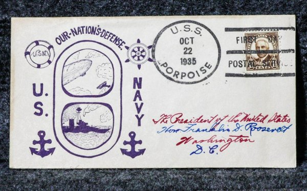 Image for USS PORPOISE NAVAL CACHET ADDRESSED TO FRANKLIN D. ROOSEVELT FROM HIS STAMP COLLECTION