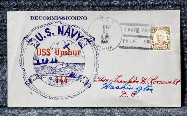 Image for USS UPSHUR NAVAL CACHET ADDRESSED TO FRANKLIN D. ROOSEVELT FROM HIS STAMP COLLECTION