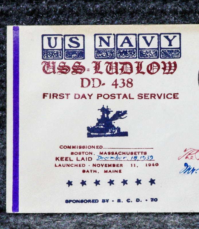 Image for USS LUDLOW NAVAL CACHET ADDRESSED TO FRANKLIN D. ROOSEVELT FROM HIS STAMP COLLECTION