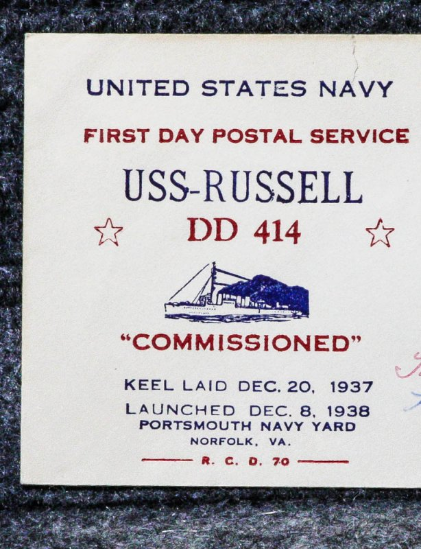 Image for USS RUSSELL NAVAL CACHET ADDRESSED TO FRANKLIN D ROOSEVELT FROM HIS STAMP COLLECTION