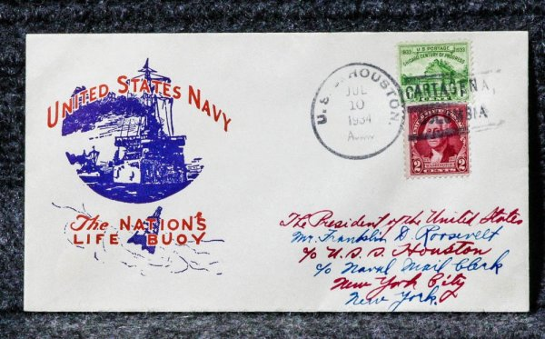 Image for USS HOUSTON NAVAL CACHET ADDRESSED TO FRANKLIN D ROOSEVELT FROM HIS STAMP COLLECTION