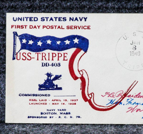 Image for USS TRIPPE NAVAL CACHET ADDRESSED TO FRANKLIN D ROOSEVELT FROM HIS STAMP COLLECTION