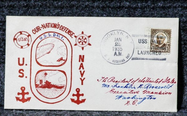 Image for USS DALE NAVAL CACHET ADDRESSED TO FRANKLIN D ROOSEVELT FROM HIS STAMP COLLECTION