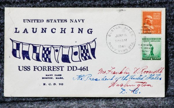Image for USS FORREST NAVAL CACHET ADDRESSED TO FRANKLIN D ROOSEVELT FROM HIS STAMP COLLECTION