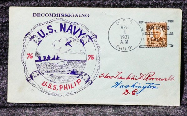 Image for USS PHILIP NAVAL CACHET ADDRESSED TO FRANKLIN D ROOSEVELT FROM HIS STAMP COLLECTION