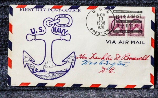 Image for USS PRESTON NAVAL CACHET ADDRESSED TO FRANKLIN D ROOSEVELT FROM HIS STAMP COLLECTION