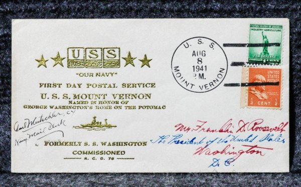 Image for USS MOUNT VERNON NAVAL CACHET ADDRESSED TO FRANKLIN D ROOSEVELT FROM HIS STAMP COLLECTION [SIGNED BY MAIL CLERK]
