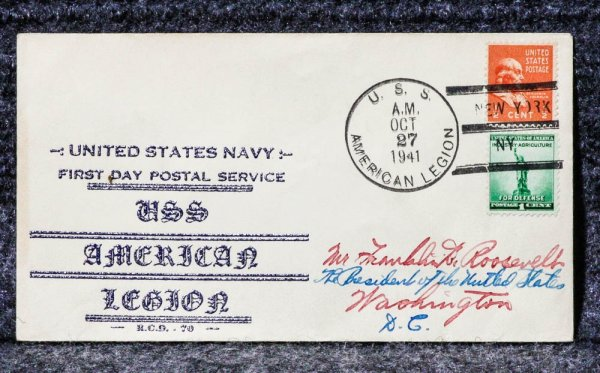 Image for USS AMERICAN LEGION NAVAL CACHET ADDRESSED TO FRANKLIN D ROOSEVELT FROM HIS STAMP COLLECTION