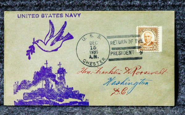 Uss Chester Naval Cachet Addressed To Franklin D Roosevelt From His Stamp Collection Return Of The President