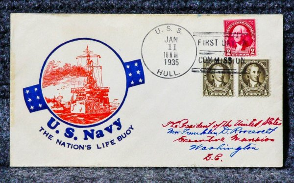 Image for USS HULL NAVAL CACHET ADDRESSED TO FRANKLIN D ROOSEVELT FROM HIS STAMP COLLECTION
