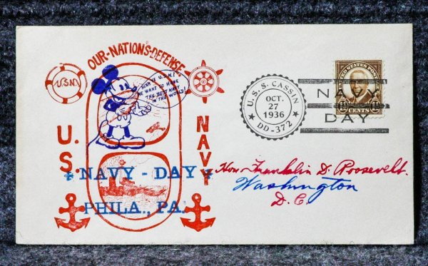Image for USS CASSIN NAVY DAY NAVAL CACHET ADDRESSED TO FRANKLIN D ROOSEVELT FROM HIS STAMP COLLECTION