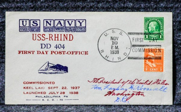 Image for USS RHIND NAVAL CACHET ADDRESSED TO FRANKLIN D ROOSEVELT FROM HIS STAMP COLLECTION