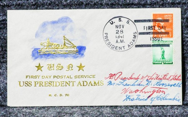 Image for USS PRESIDENT ADAMS NAVAL CACHET ADDRESSED TO FRANKLIN D ROOSEVELT FROM HIS STAMP COLLECTION