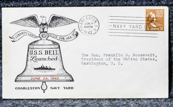 Image for USS BELL NAVAL CACHET ADDRESSED TO FRANKLIN D ROOSEVELT FROM HIS STAMP COLLECTION