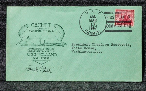 Image for USS HOLLAND [CAPTAIN SIGNED- SUBMARINE] NAVAL CACHET ADDRESSED TO FRANKLIN D ROOSEVELT FROM HIS STAMP COLLECTION