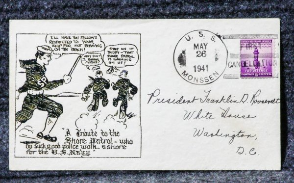 Image for USS MONSSEN NAVAL CACHET ADDRESSED TO FRANKLIN D ROOSEVELT FROM HIS STAMP COLLECTION