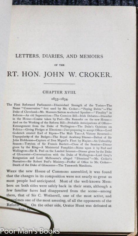 Image for THE CROKER PAPERS THE CORRESPONDENCE AND DIARIES OF THE LATE RIGHT HONOURABLE JOHN WILSON CROKER SECRETARY TO THE ADMIRALTY 1809 - 1830 IN TWO VOLUMES