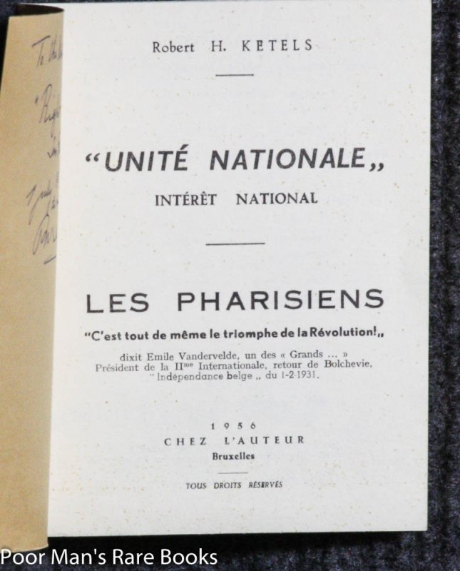 "Image for ""UNITE NATIONALE"". INTERET NATIONAL. LES PHARISIENS"