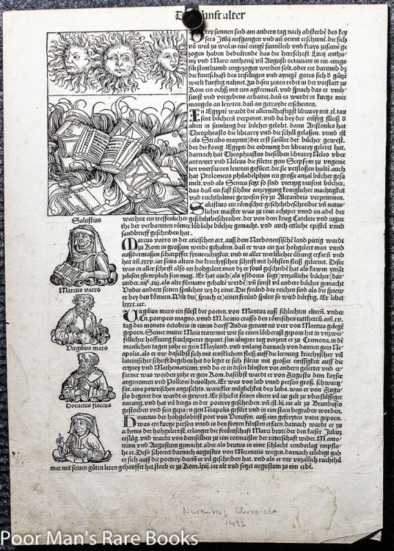 Image for DAS BUCH DER CRONIKEN UND GESCHICHTEN. INCUNABLE LEAF 92 WITH ILLUSTRATIONS.
