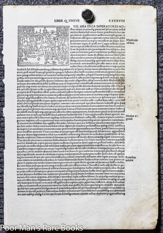 Image for 1495 INCUNABLE LEAF LIVIUS TITUS. HISTORIAEROMANAE DECADES. LEAF 138 WITH WOODCUT. VENICE PHILPPUS PINCIUS FOR LUCABTONIO GIUNTA