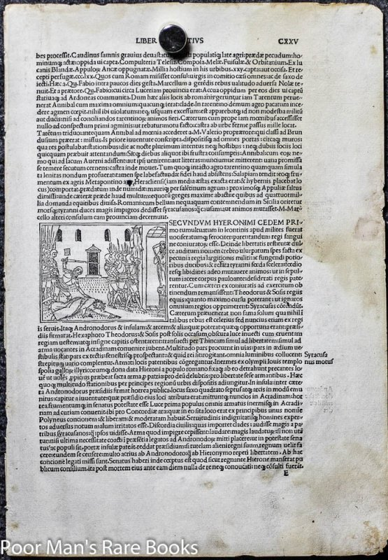 Image for 1495 INCUNABLE LEAF LIVIUS TITUS. HISTORIAEROMANAE DECADES. LEAF 125 WITH WOODCUT. VENICE PHILPPUS PINCIUS FOR LUCABTONIO GIUNTA