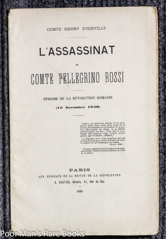 Image for L'ASSASSINAT DU CTE PELLEGRINO ROSSI, E´PISODE DE LA RE´VOLUTION ROMAINE.