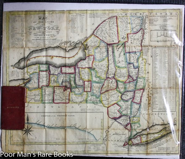 "Image for ANTIQUE COLOR FOLDING MAP OF NEW YORK STATE C1831 20.5"" X 16.5"" Lbc"