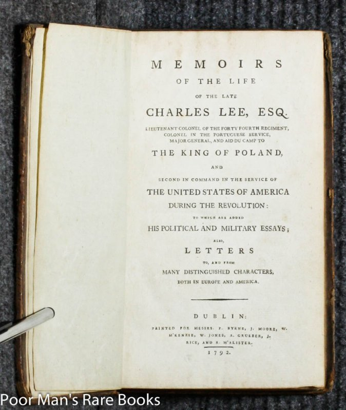 Image for MEMOIRS OF THE LATE CHARLES LEE ... SECOND IN COMMAND IN THE SERVICE OF THE UNITED STATES OF AMERICA DURING THE REVOLUTION.