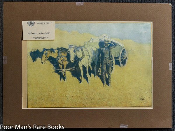 "Image for ARTIST PROOF PRINT WESTERN PAINTER FREDERIC REMINGTON ""BENIGHTED FOR A DRY CAMP"" W/ CERT"