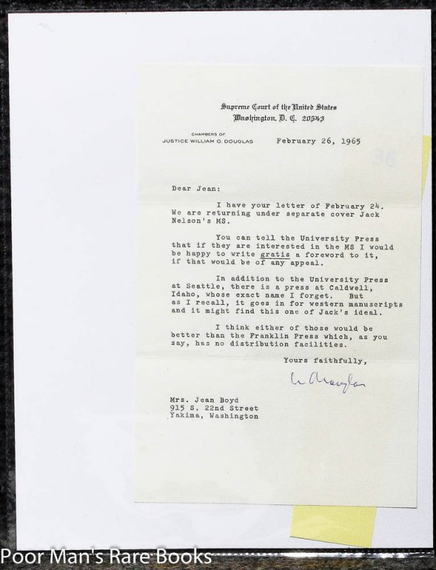 Image for WILLIAM O. DOUGLAS TLS [TYPED LETTER SIGNED] 1965.