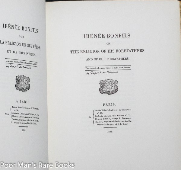 Image for IRENEE BONFILS WRITTEN BY PIERRE SAMUEL DUPONT DE NEMOURS AND PUBLISHED IN PARIS 1808. TRANSLATED BY PIERRE S. DUPONT WILMINGTON DELAWARE 1947.