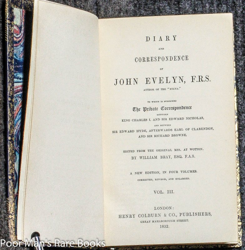 Image for DIARY AND CORRESPONDENCE OF JOHN EVELYN, F.R.S. [CT IN 4 FINE LEATHER VOLUMES]