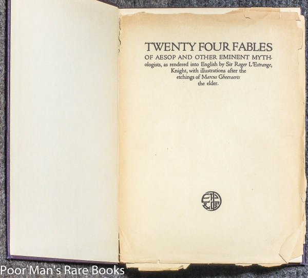 Image for TWENTY FOUR FABLES OF AESOP AND OTHER EMINENT MYTHOLOGISTS
