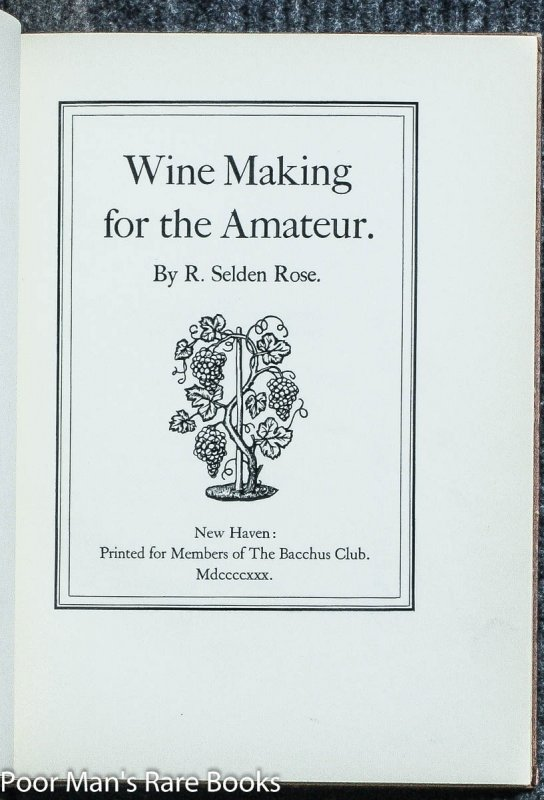 Image for WINE MAKING FOR THE AMATEUR