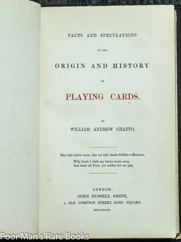Image for FACTS AND SPECULATIONS ON THE ORIGIN AND HISTORY OF PLAYING CARD
