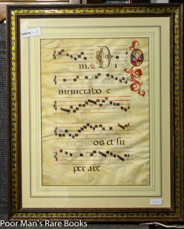 Image for 3 Large Illuminated Vellum Christian Choir Book Leaves In Manuscript Separately Framed C1600 Lbc
