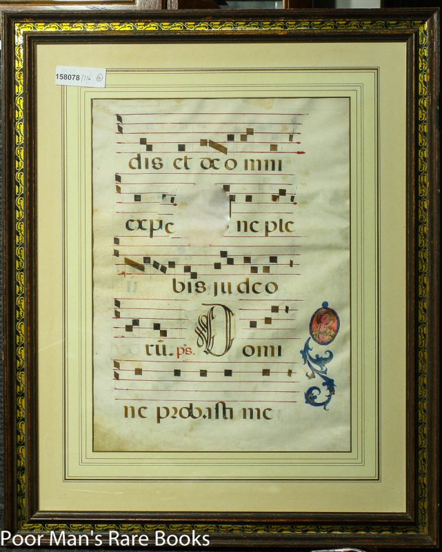 Image for LARGE MANUSCRIPT CHRISTIAN CHOIR BOOK LEAF ON VELLUM WITH PORTRAIT Lbc