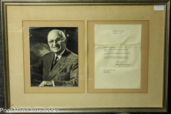 Image for TRUMAN, HARRY S. TYPED LETTER AND PORTRAIT BOTH SIGNED INDEPENDENCE, MO JAN 9, 1962. Lbc