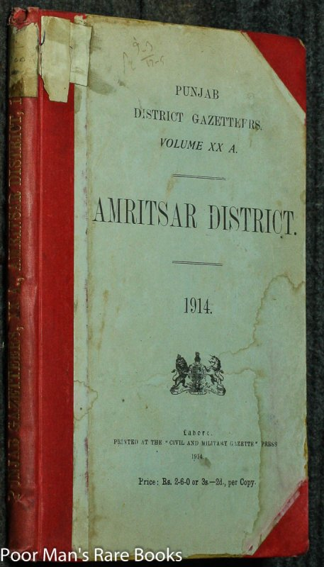 Image for PUNJAB DISTRICT GAZTTEERS XX A AMRITSAR DISTRICT 1914E