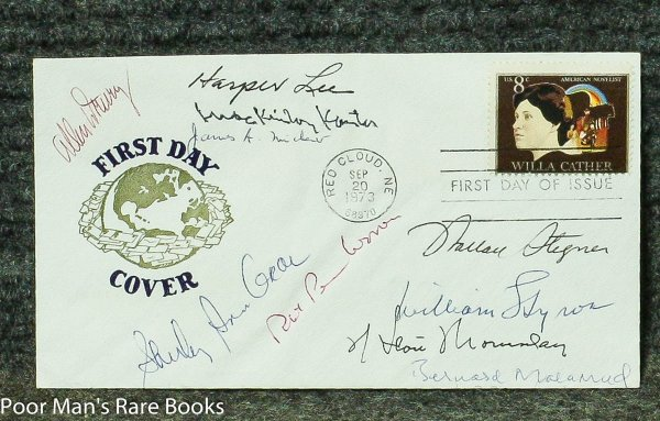 Image for AMERICAN AUTHORS - WILLA CATHER FIRST DAY COVER SIGNED. HARPER LEE, JAMES MITCHENER, ROBERT PENN WARREN, WALLACE STEGNER, ALLEN DRURY