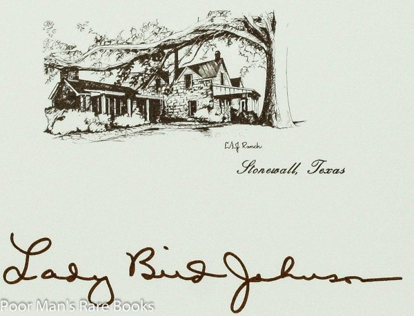 "Image for ""Lady Bird Johnson"" Autograph On Card W/ Stonewall Texas Ranch"