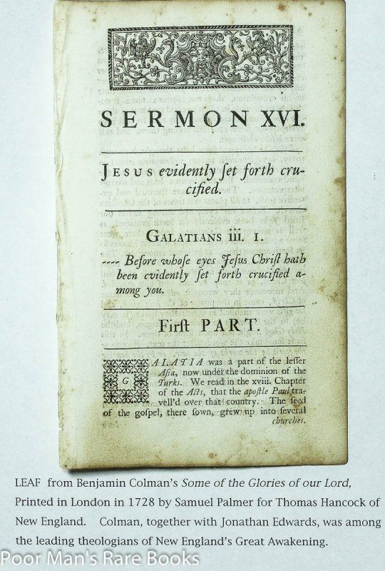 Image for Leaf From Some Of The Glories Of Our Lord And Saviour Jesus Christ 1728 Sermon XVI