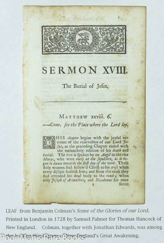 Image for Leaf From Some Of The Glories Of Our Lord And Saviour Jesus Christ 1728 Sermon XVIII