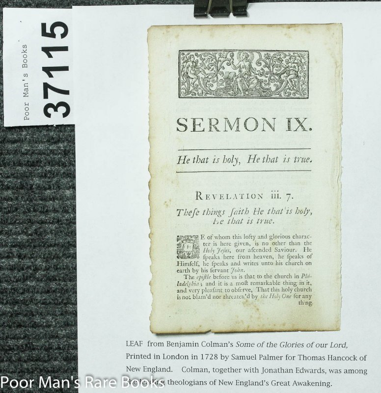 Image for Leaf From Some Of The Glories Of Our Lord And Saviour Jesus Christ 1728 Sermon IX
