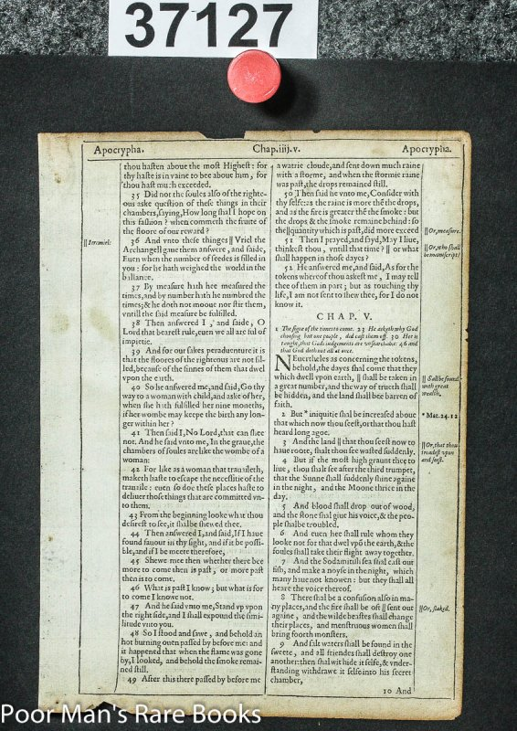 Image for A Leaf From First Popular Edition King James Bible By Robert Barker 1612