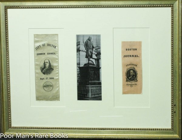 Image for Two Framed Ben Franklin Commemorative Ribbons Both Dated 1856.