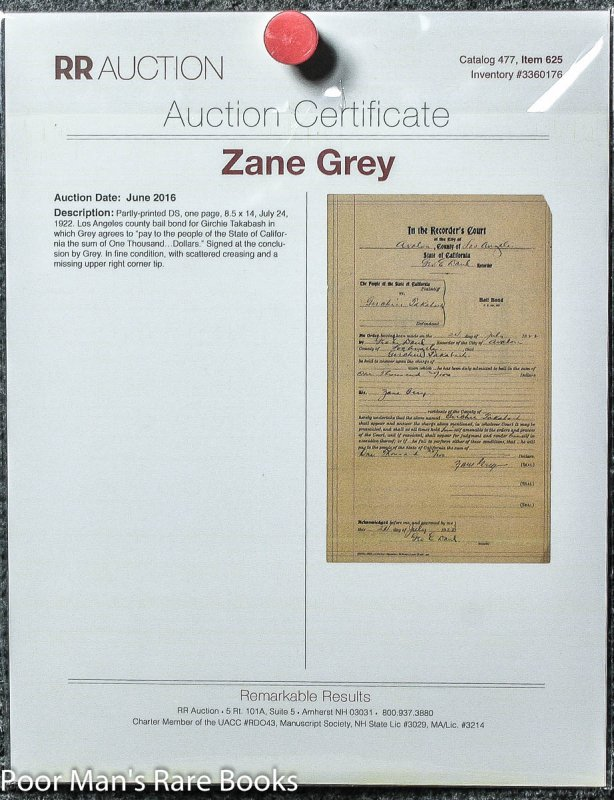 Zane Grey $1000 Bail Bond Signed By Grey For Girchie Takabash With ...