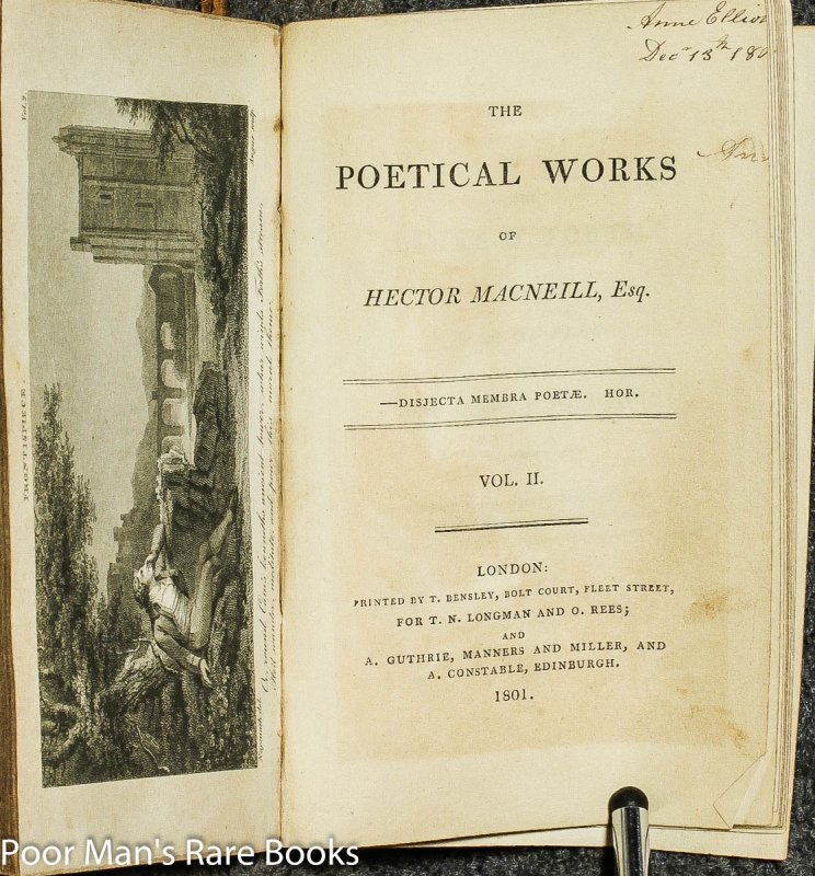 Image for Poetical Works Of Hector Macneill, Esq [2 Vols In One] Bound With Town Fashions Or Modern Manners Delineated, A Satirical Dialogue With James And Mary, A Rural Tale.